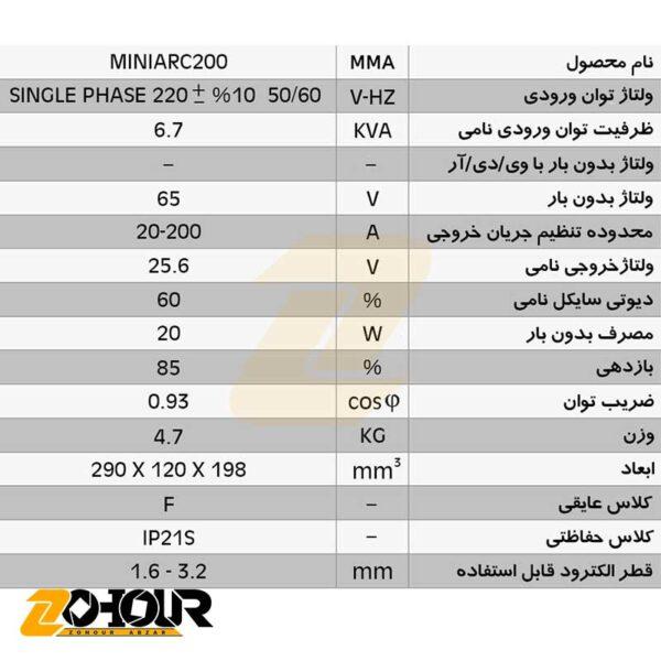 اینورتر 200 آمپر ایران ترانس مدل Iran trans MINIARC200AH