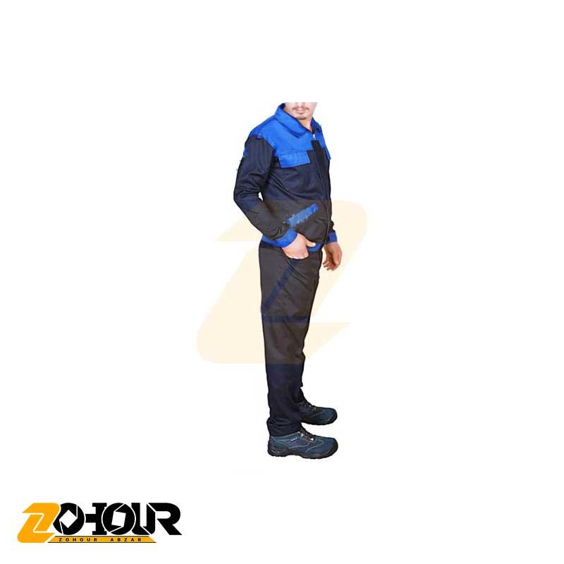 لباس کار کاپشن شلوار کارگری ، مشکی آبی سایز M