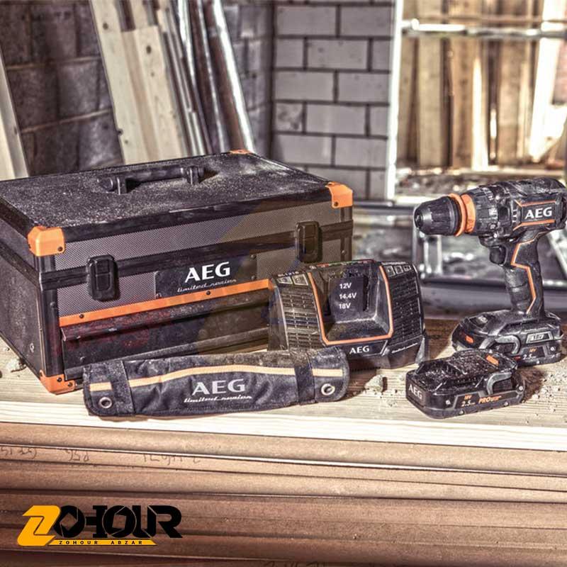 دریل شارژی چکشی 2 سرعته 18 ولت آاگ مدل AEG BSB18CBLLE-252C